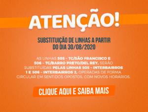 SUBSTITUIÇÃO DE LINHAS A PARTIR DO DIA 30/08/2020